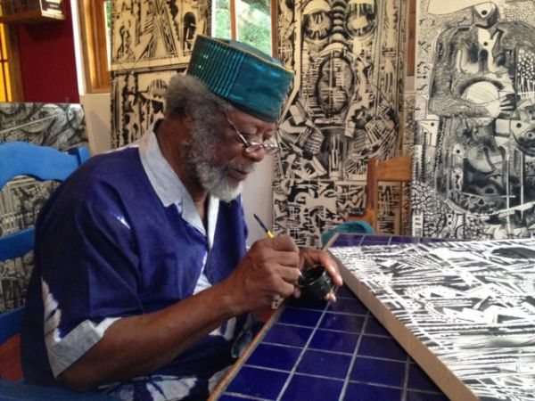 LeRoy Clarke at work. Photo: Annie Paul