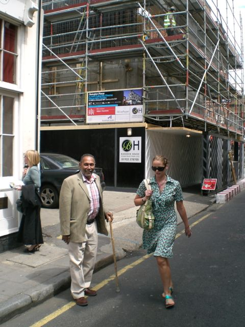 Stuart Hall outside Rivington Place, under construction.