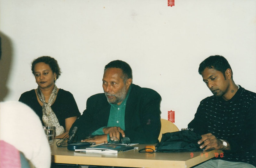 Stuart Hall at INiva (Institute of International Visual Art) with Annie Paul and artist Steve Ouditt from Trinidad and Tobago