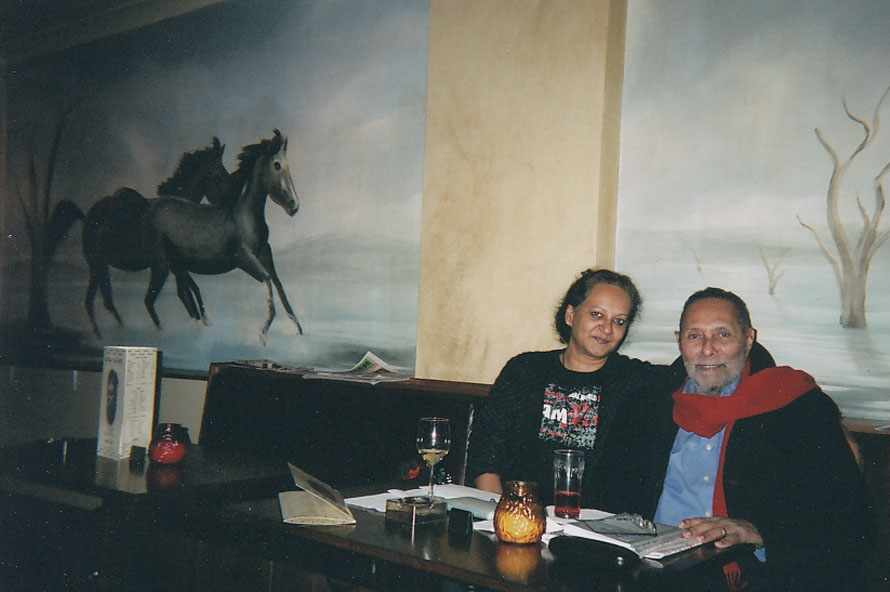 with Stuart Hall at a bar in Edgeware, London
